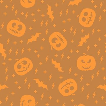 Pattern with pumpkin silhouette and flying bat by alijun