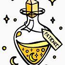 Patience Gelbe Zaubertrankflasche. Hexe, Zauberer, Halloween, Magische, Sterne und Monde Flüssiger Glückstrank. von tachadesigns
