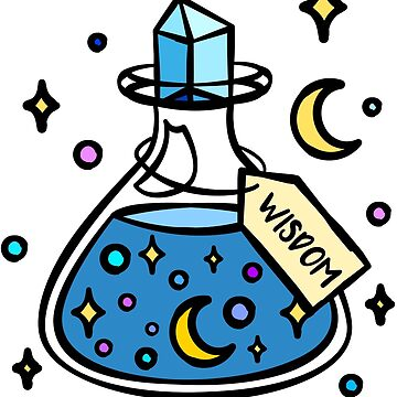 Wisdom Magic Potion Bottle. Magical Blue Intelligence Potion Brew. Wizard and Witch Brew. Halloween. Moon and Stars. by tachadesigns