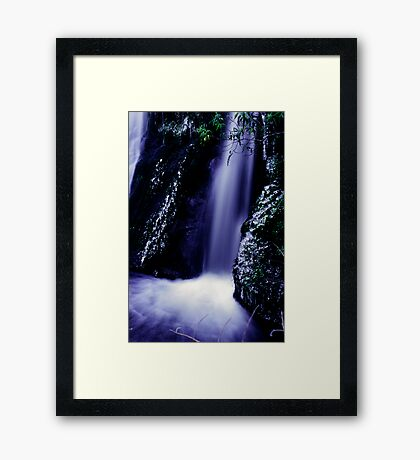 small waterfall on the Milford road Framed Print