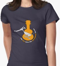 Cartoon Greyhound & Ukulele Women's Fitted T-Shirt