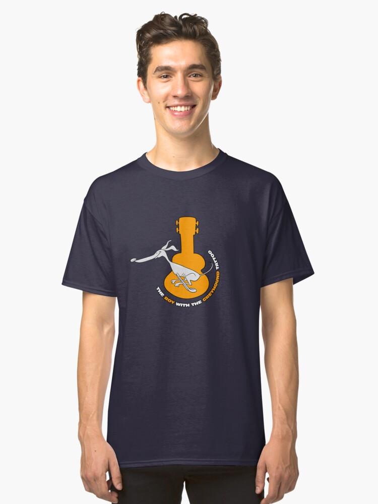 Cartoon Greyhound & Ukulele Classic T-Shirt Front