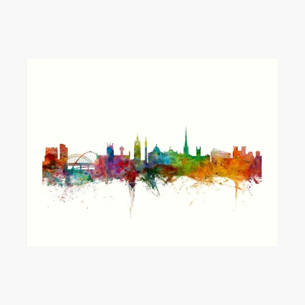 Newcastle England Skyline Art Print