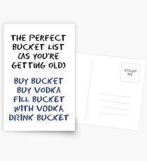 The Perfect Bucket List Vodka Birthday Card  Postcards