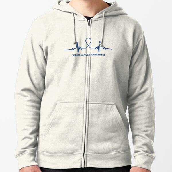 Colon Cancer Blue Ribbon Crc Awareness Support Family Walk Design Zipped Hoodie By Createdbyheidi Redbubble