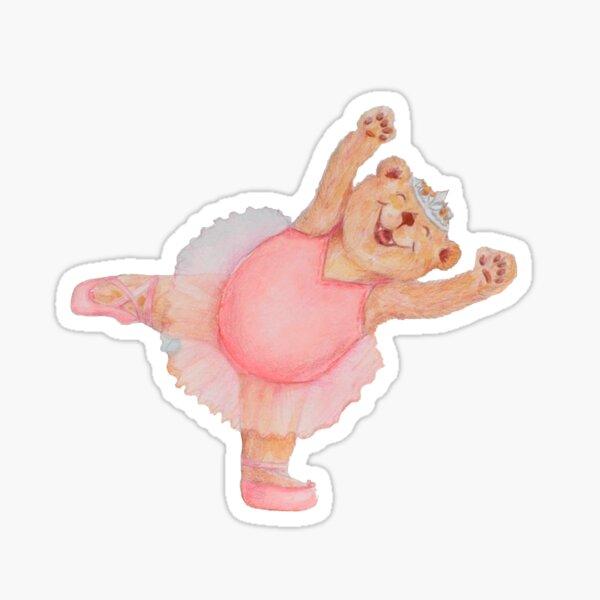 Pink Ballerina Yoga Bear Dancing Like a STAR Sticker