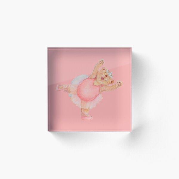 Pink Ballerina Yoga Bear Dancing Like a STAR Acrylic Block
