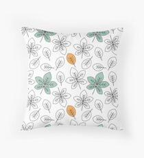 cute black and white and colorful leaves pattern background  Throw Pillow