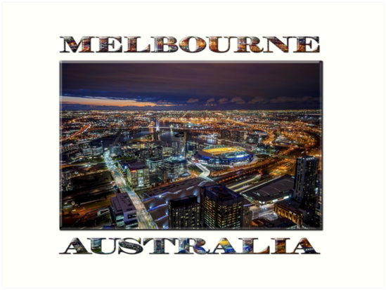 Melbourne at Night (poster on white) by Ray Warren