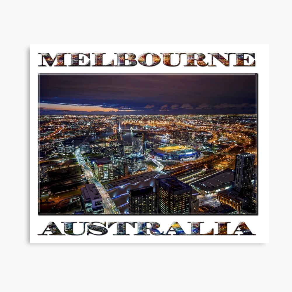 Melbourne at Night (poster on white) Canvas Print