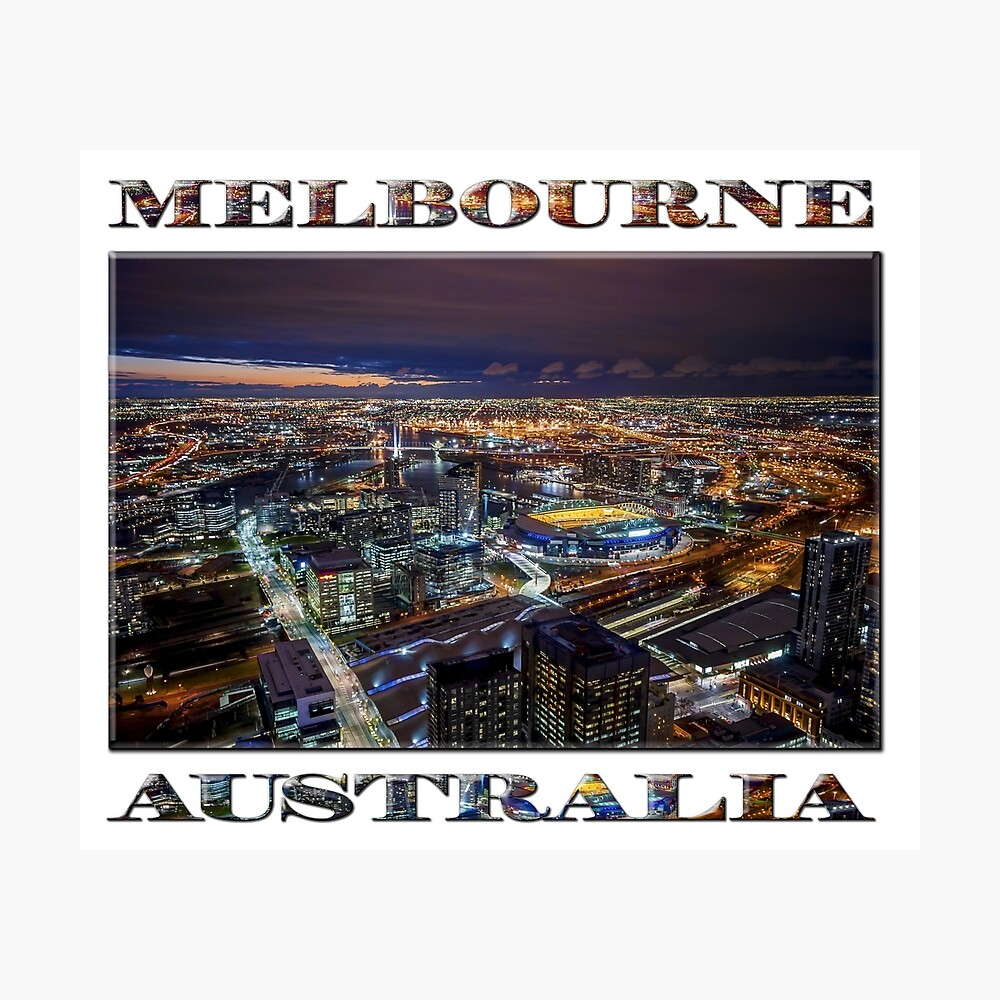 Melbourne at Night (poster on white) Photographic Print