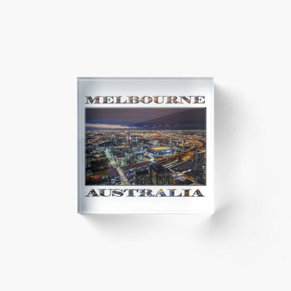 Melbourne at Night (poster on white) Acrylic Block