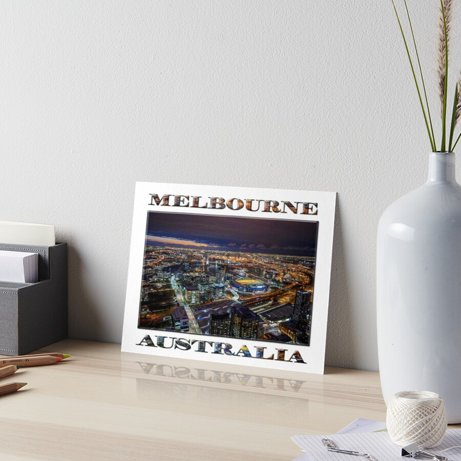 Melbourne at Night (poster on white) Art Board Print