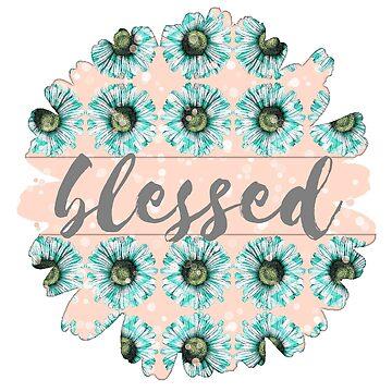 Mint Blue Green Daisy auf Pfirsich Bokeh Floral Flowers Illustration 3 + Blessed von Saburkitty