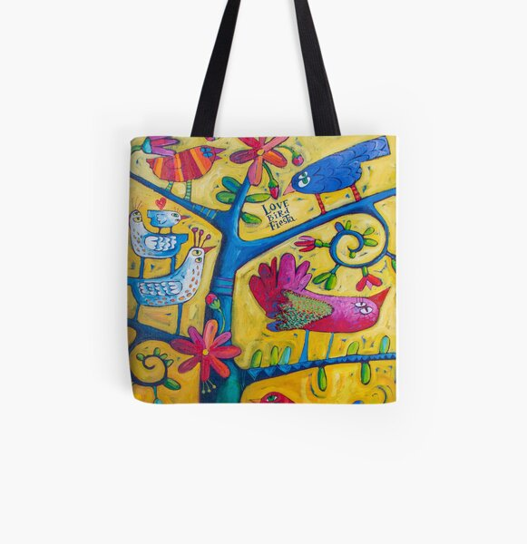 Lovebird Fiesta All Over Print Tote Bag