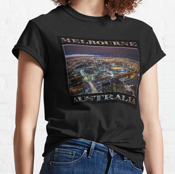 Melbourne at Night (poster on black) Classic T-Shirt