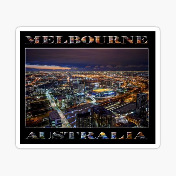 Melbourne at Night (poster on black) Sticker