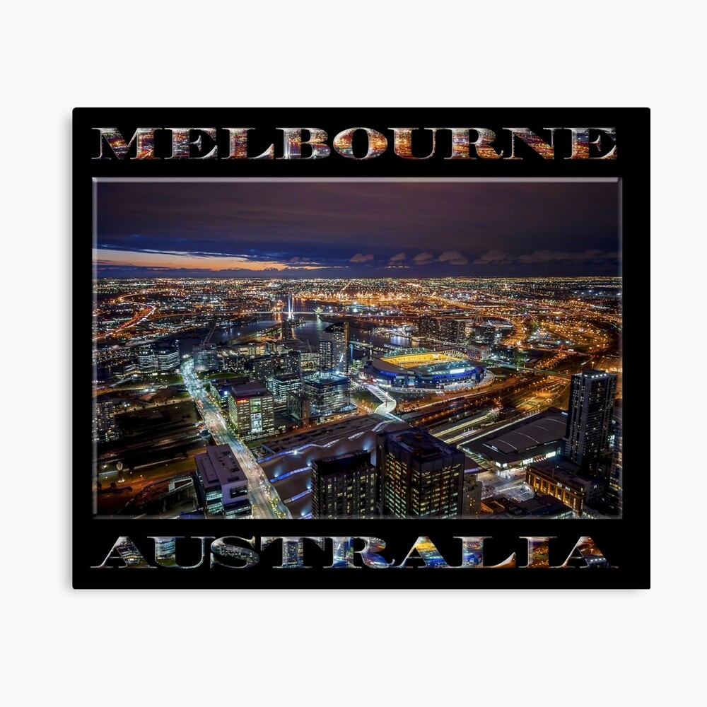 Melbourne at Night (poster on black) Canvas Print