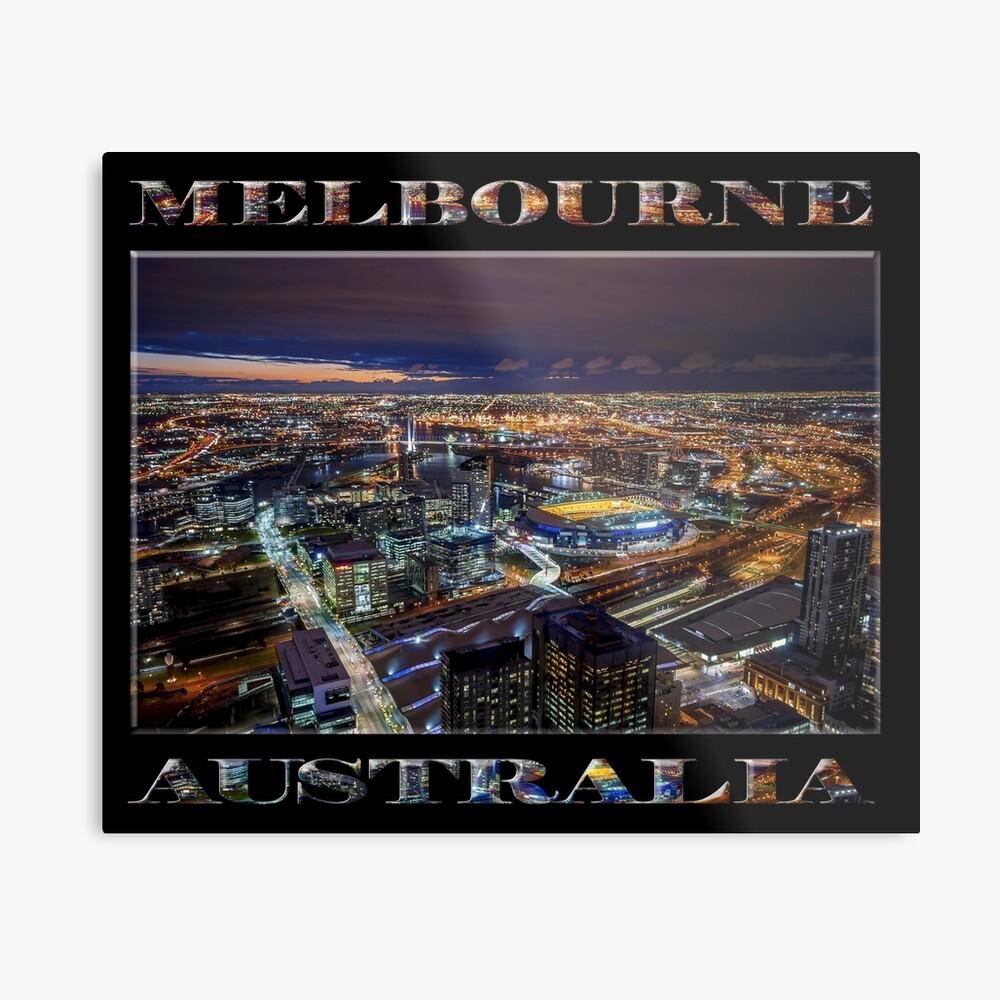 Melbourne at Night (poster on black) Metal Print