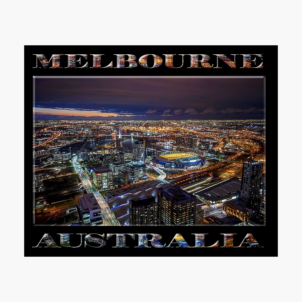 Melbourne at Night (poster on black) Photographic Print