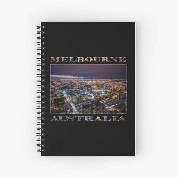 Melbourne at Night (poster on black) Spiral Notebook