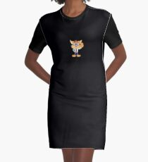 Smart Cat with Glasses Graphic T-Shirt Dress