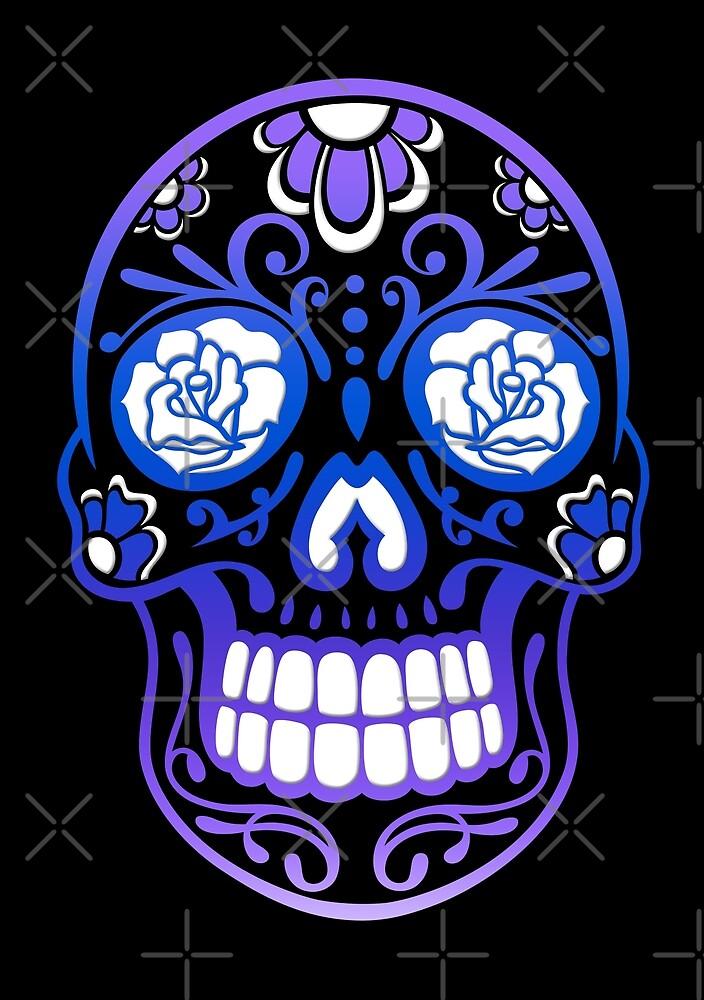 Totenkopf, Totenschädel. Sugar Skull mit Blumen.  von Christine Krahl