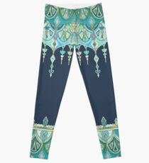 Art Deco Double Drop in Blues and Greens Leggings
