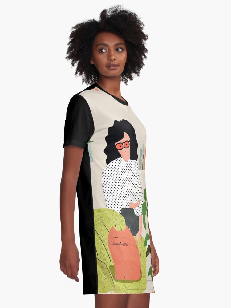 Alternative Ansicht von Bücher und Katzen T-Shirt Kleid