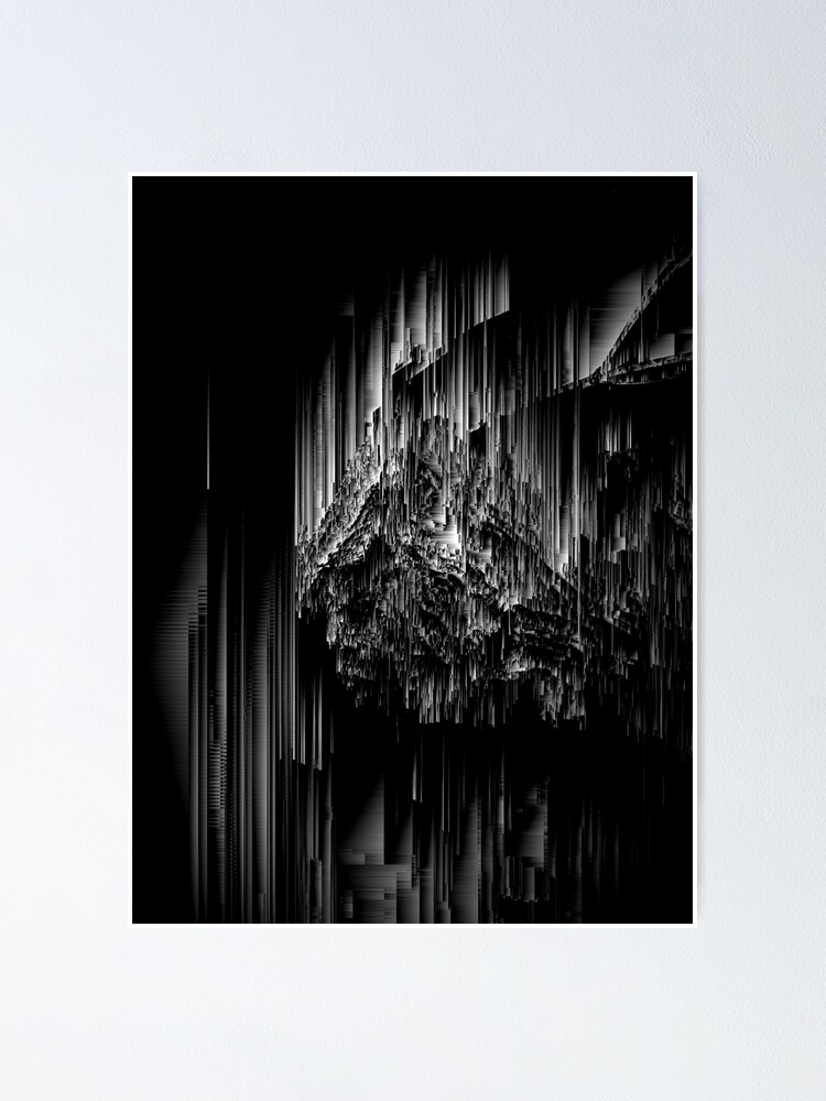 Alternate view of Night of the Glitches - Abstract Pixel Art Poster