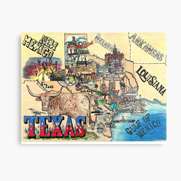 Map of Texas Metal Print