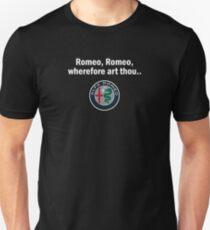 Alfa Romeo wherefore art thou Romeo with white text Slim Fit T-Shirt