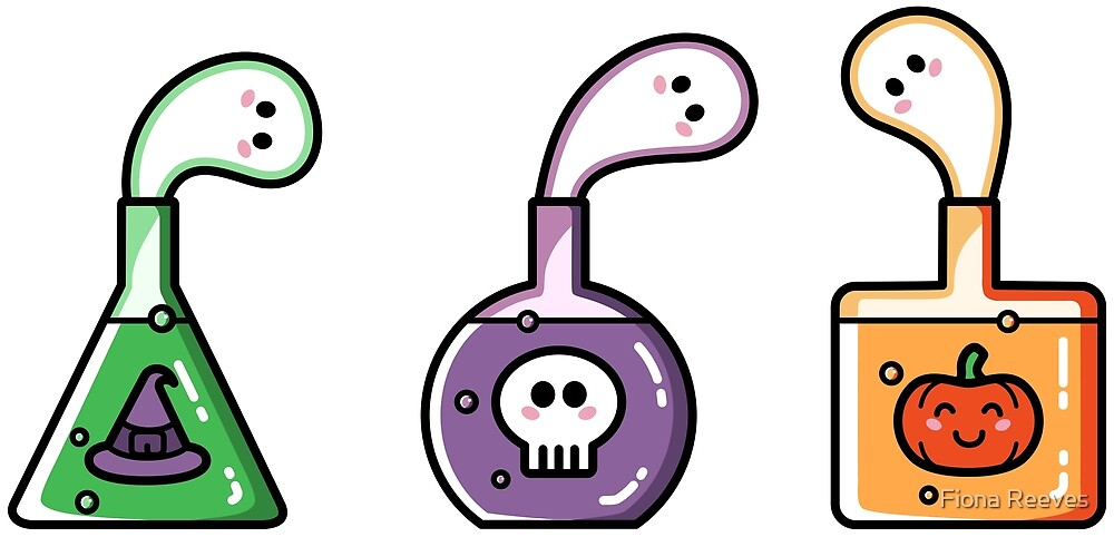 Cute Halloween Ghost Potions by Fiona Reeves