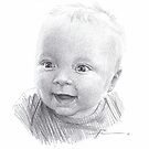 blonde baby boy drawing by Mike Theuer