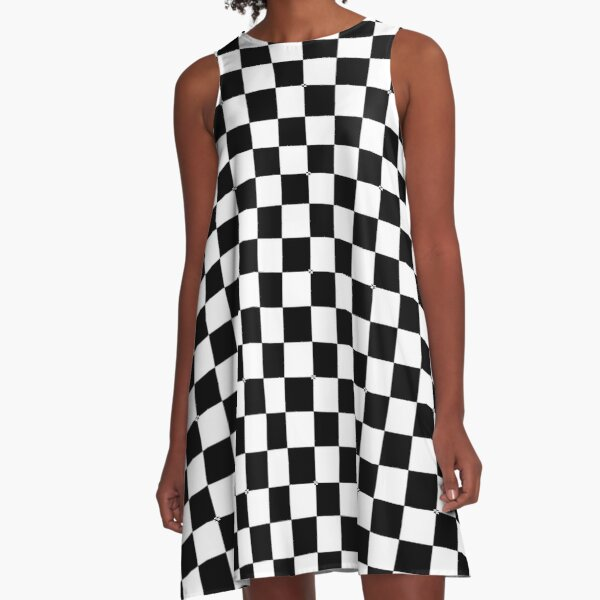 Black Checkerboard  A-Line Dress