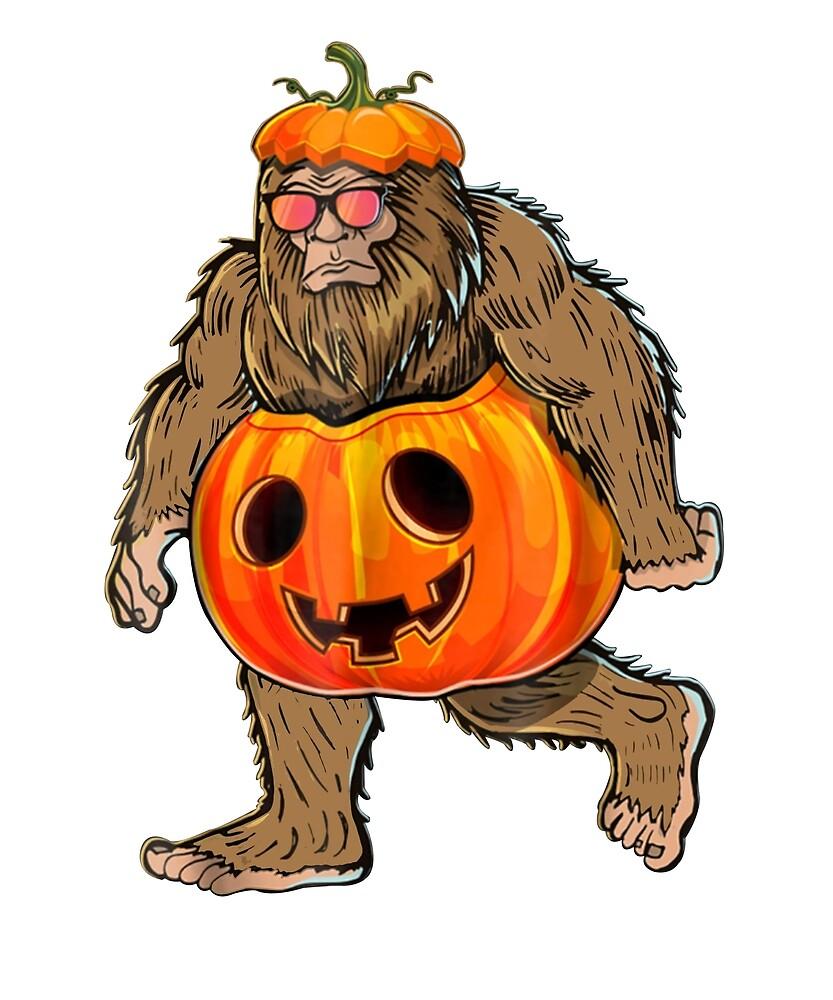 Bigfoot Halloween Pumpkin Shirt Halloween Bigfoot Shirt Gift