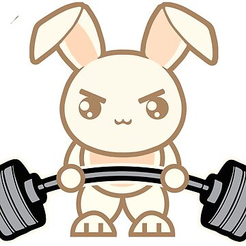 Cute Weightlifting Bunny Cartoon - Deadlift by mchanfitness