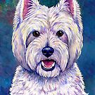 Colorful West Highland White Terrier Dog Blue Background by Rebecca Wang