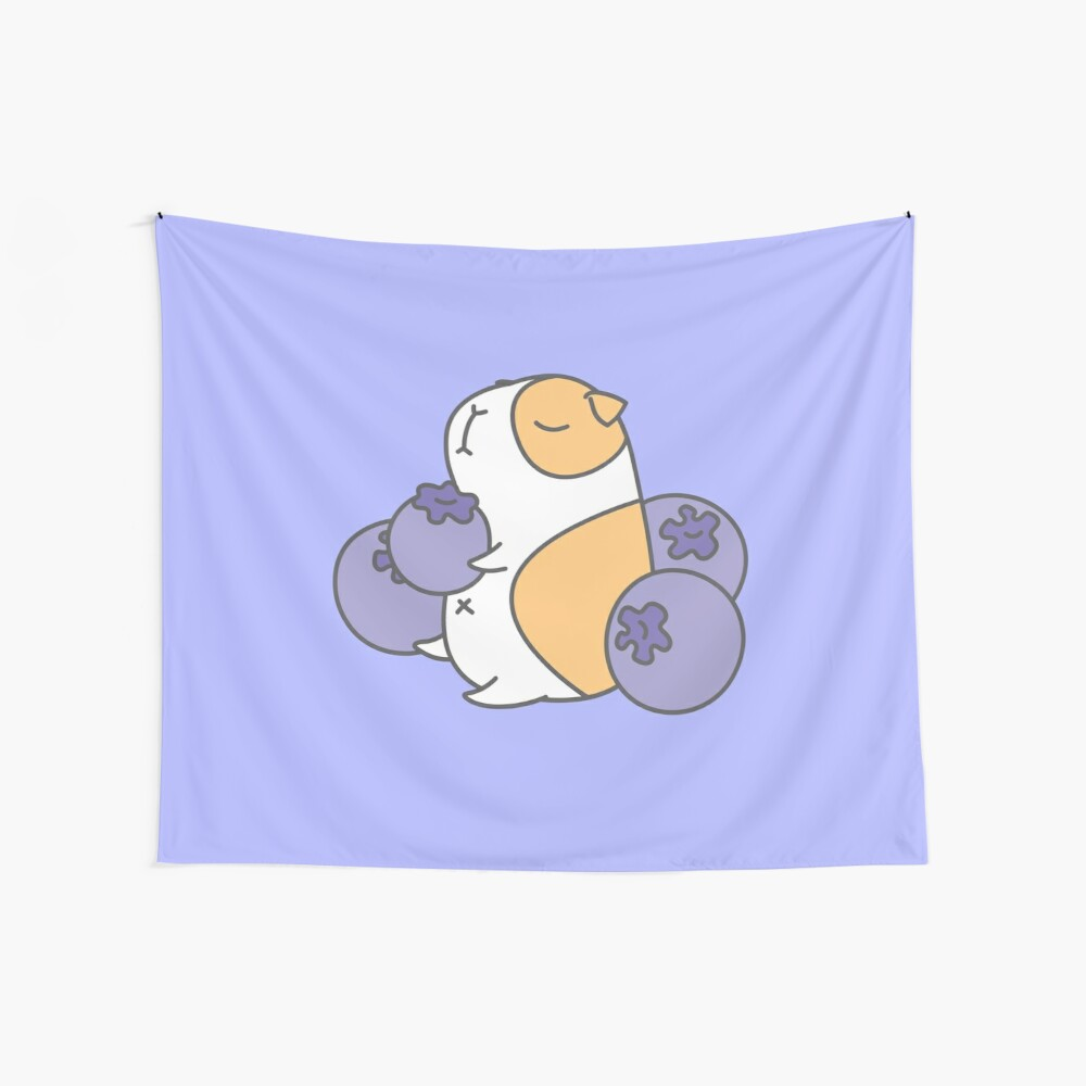 Guinea pig and blueberry  Wall Tapestry