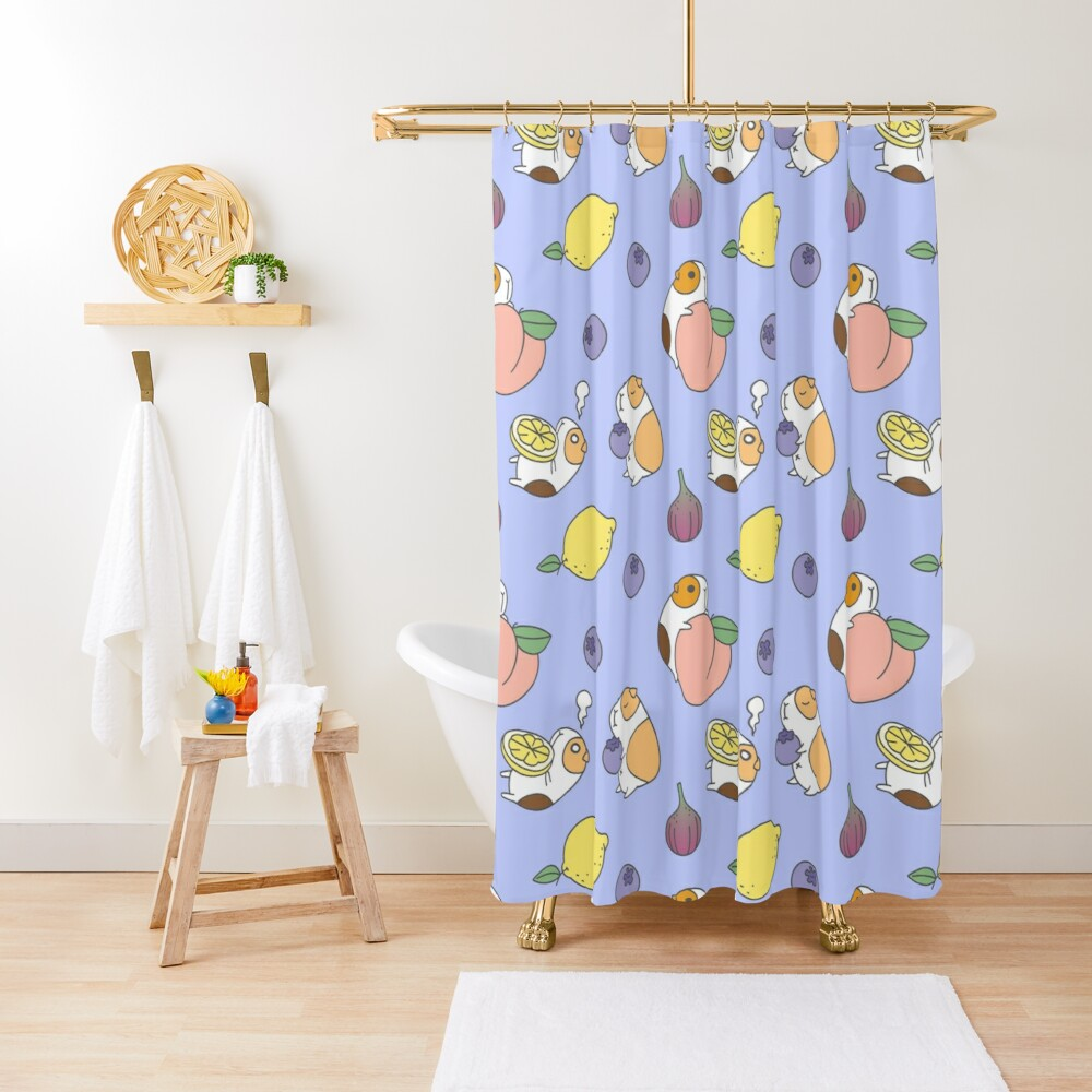 Guinea pig and blueberry  Shower Curtain