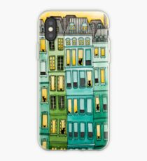 Cats in Green Townhouses iPhone Case