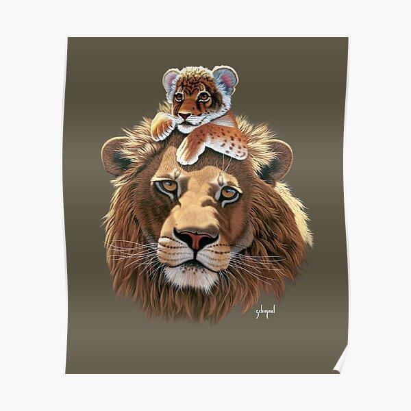 Father Lion and Lion Cub, male lion Poster