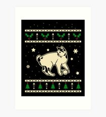 Christmas Japanese Bobtail Cat Gift Art Print