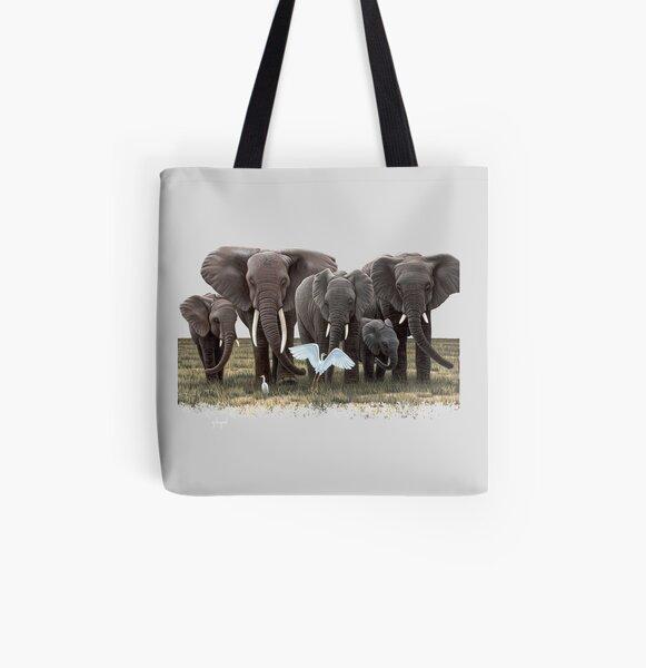 Elephant Family, I love elephants All Over Print Tote Bag