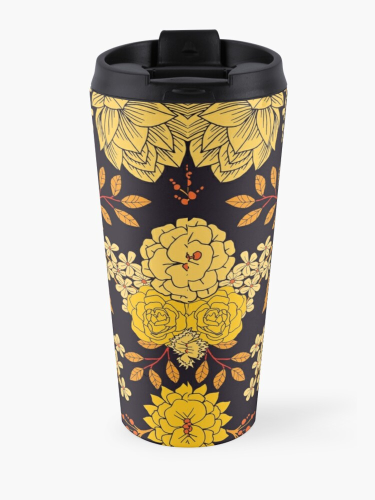 Alternate view of Yellow, Orange & Navy Blue Dark Floral Pattern Travel Mug