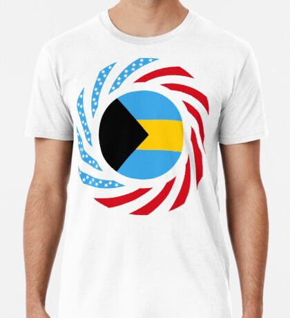 Bahamian American Multinational Patriot Flag Series Premium T-Shirt