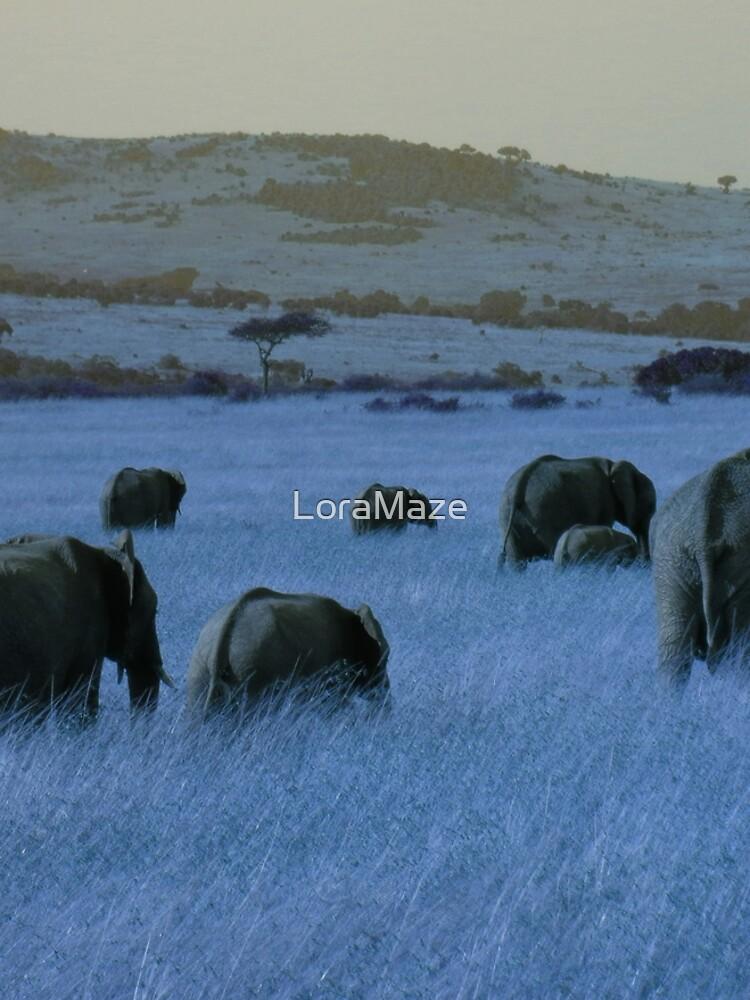 Elephant Family in Blue by LoraMaze