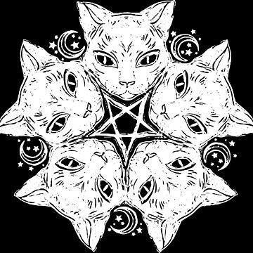Catagram - Cat Pentagram - Occult - Goth by WishingInkwell