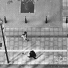 In the Cycle Lane - Mono by Glen Allen