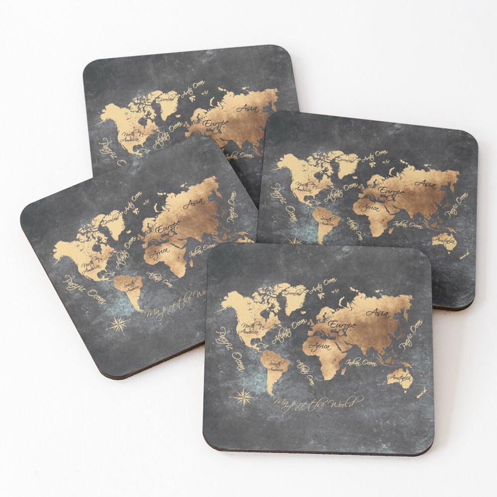 world map 147 gold black #worldmap #map Coasters (Set of 4)